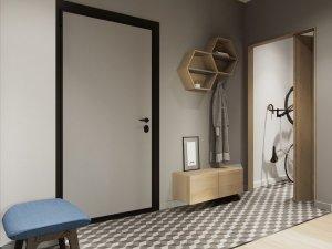 极简黑白风格实木门装修效果图   多层实木门图片