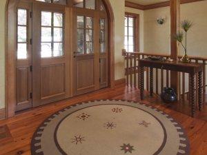 美式乡村风格拱形实木入户门图片 双开实木玻璃门图片