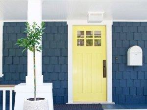 简约风格黄色实木入户门效果图 实木玻璃门图片