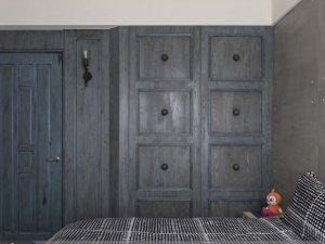 美式风格灰蓝色卧室门装修效果图 多层实木门图片