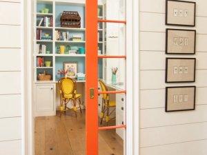 橘色玻璃推拉门装修效果图 书房门设计图片