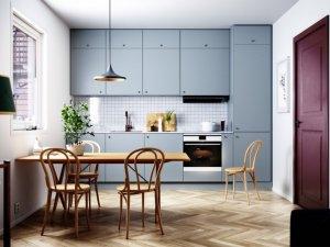 北欧风格厨房红色木门效果图 经典造型木门设计图