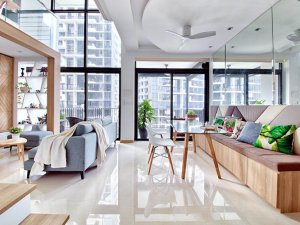 铝合金玻璃门窗效果图 25平挑高北欧风复式公寓