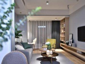 卧室玻璃推拉窗装修效果图 灰粉色北欧二居室案例赏析