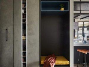 台北工业风装修效果图 黑色金属元素推拉窗设计图片