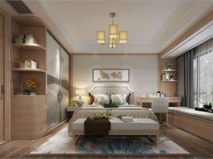 南国豪苑原木门图片 卧室浅棕新中式木门图片大全