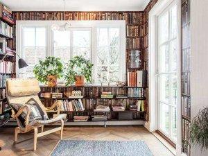 田园风书房白框玻璃平开门图片  客厅白色双开门效果图