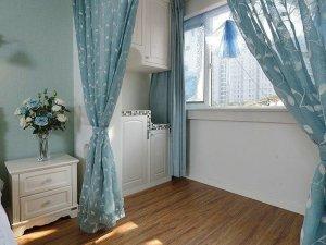 浅蓝空间白色铝合金门窗图片 卧室铝木复合门窗图片