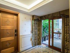 推拉铝合金门入户门图片 茶色铝合金门窗图片