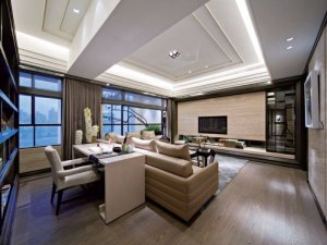都市风黑色铝合金门窗效果图 客厅型铝合金门窗图片