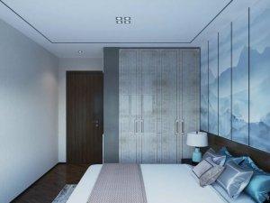新中式卧室门效果图 棕色木纹木门图片