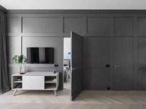 北欧风隐形木门效果图 灰色卧室门图片