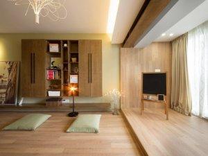 北欧日式混搭家用门窗效果图 香槟色铝合金门窗图片