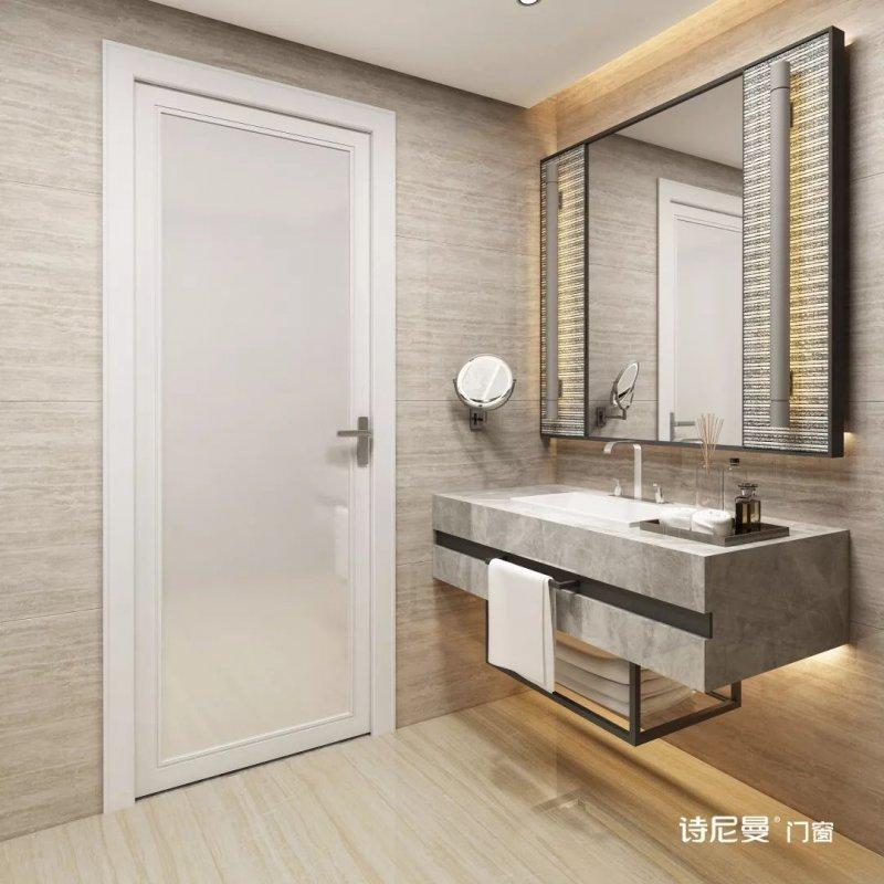 诗尼曼门窗图片 卫生间平开门效果图