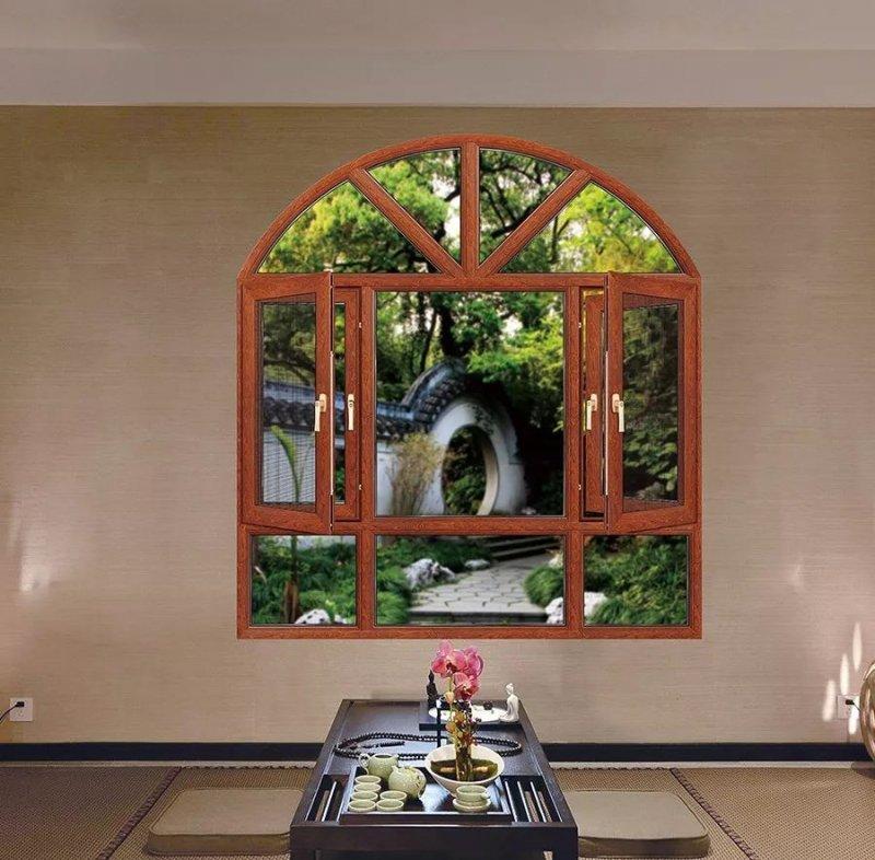 亮閣門窗圖片 棕色平開窗效果圖
